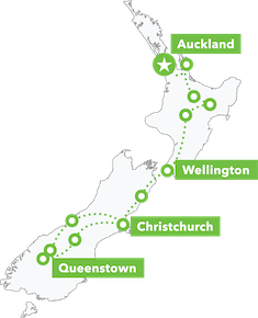 Amplified NZ Tour map