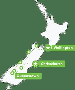 South Island Adrenalin Junkie Tour map