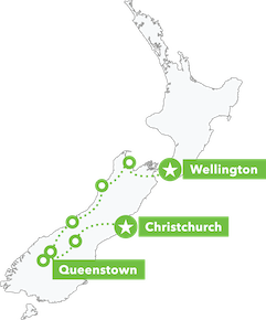 South Island Adrenalin Junkie Tour map