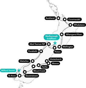 New Zealand Safari Tour map