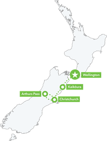 Ride the Rails - South Island map